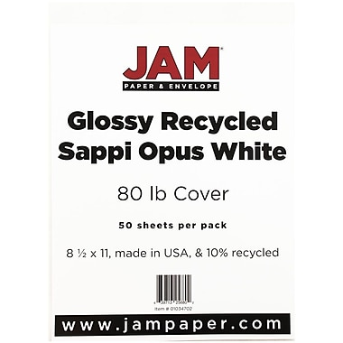 Glossy card stock jam paper glossy cardstock 2 sided 85 x 11 80lb white reheart Image collections