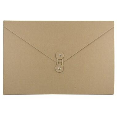 JAM Paper® Kraft Chipboard Portfolio, Button and String Tie Closure, Large, 9.25 x 14 x 3/8, Natural Kraft, 1/pk (2008 201)