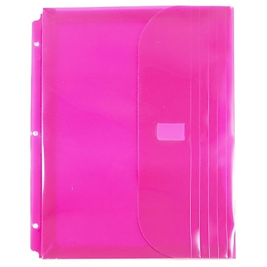 JAM Paper® Plastic 3 Hole Punch Binder Envelopes, VELCRO® Brand Closure, 1 Expansion, 8.6 x 11.5, Fuchsia Pink, 12/Pk (218VB1PI)