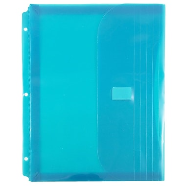 JAM Paper® Plastic 3 Hole Punch Binder Envelopes, VELCRO® Brand Closure, 1 Expansion, 8.6 x 11.5, Teal Blue, 12/Pack (218VB1TE)