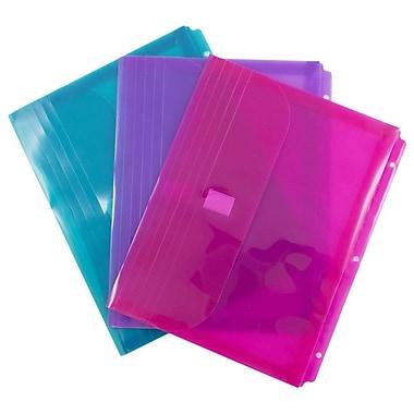 JAM Paper® Plastic 3 Hole Punch Binder Envelopes, VELCRO® Brand Closure, 1 Expansion, 8.6 x 11.5, Assorted, 12/Pack (218VB1ASST)