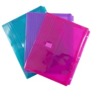 JAM Paper® Plastic 3 Hole Punch Binder Envelopes, Hook & Loop Closure, 1 Expansion, 8.625 x 11.5, Assorted, 6/Pack (218VB1ASST)