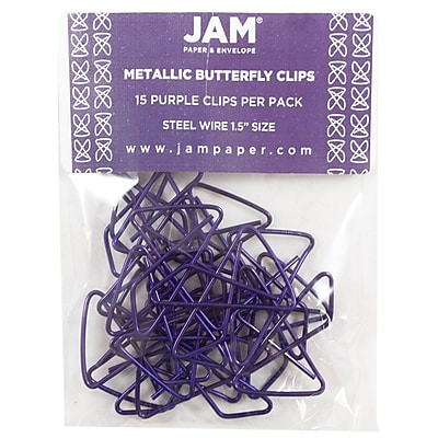JAM Paper® Butterfly Paper Clips, Purple Paperclips, 15/pack (2210016347)