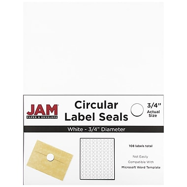 JAM Paper® Round Circle Label Sticker Seals, 3/4, White, 108/pack (3147612190)