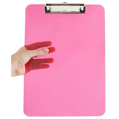 JAM Paper® Plastic Clipboard, 9 x 13, Pink, Sold Individually (340926883)