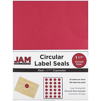 JAM Paper® Round Circle Label Sticker Seals, 1 2/3 inch diameter, Red, 120/pack (3147612194)