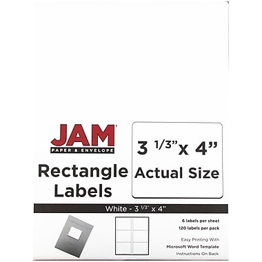 JAM Paper® Mailing Address Labels, 3 1/3 x 4, White, 120/pack (4062902)