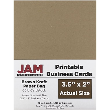 Jam paper two sided printable business cards 2 x 35 brown jam paper two sided printable business cards 2 x 35 brown kraft paper reheart
