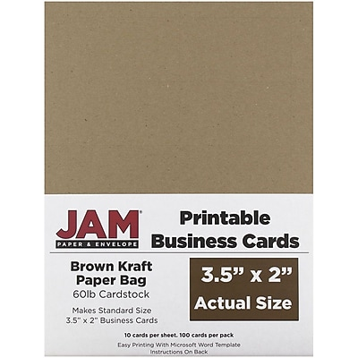 photograph about Printable Kraft Paper titled JAM Paper® Printable Enterprise Playing cards, 3 1/2 x 2, Brown Kraft Paper Bag Recycled, 100/Pack (22128339)