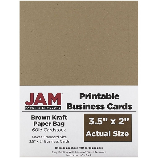 Jam paper two sided printable business cards 2 x 35 brown kraft httpsstaples 3ps7is colourmoves
