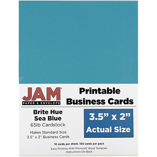 JAM Paper® Printable Business Cards, 3 1/2 x 2, Sea Blue, 100/Pack (22128341)