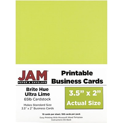 JAM Paper® Two Sided Printable Business Cards, 2 x 3.5, Bright Hue Lime Green, 100/pack (22128340)