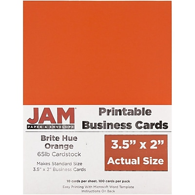 JAM Paper® Two Sided Printable Business Cards, 2 x 3.5, Bright Hue Orange Recycled, 100/pack (22128342)