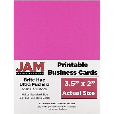 JAM Paper® Two Sided Printable Business Cards, 2 x 3.5, Brite Hue Fuchsia Pink, 100/pack (22128338)