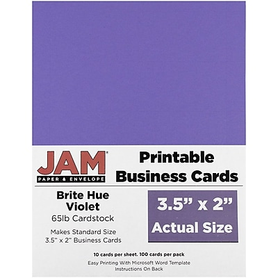JAM Paper® Two Sided Printable Business Cards, 2 x 3.5, Bright Hue Violet Purple Recycled, 100/pack (22128337)