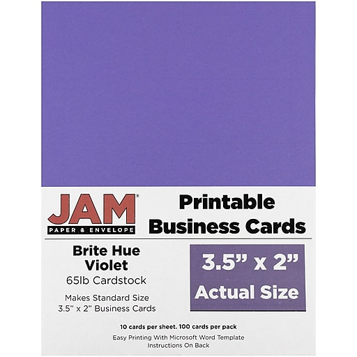 jam paper two sided printable business cards 2 x 3 5 bright hue