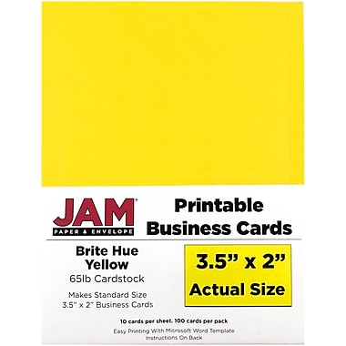 JAM Paper® Two Sided Printable Business Cards, 2 x 3.5, Bright Hue Yellow Recycled, 100/pack (22128336)
