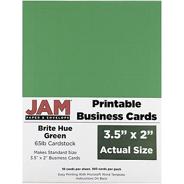 JAM Paper® Two Sided Printable Business Cards, 2 x 3.5, Bright Hue Green Recycled, 100/pack (22128335)