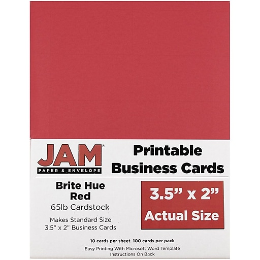 JAM Paper® Printable Business Cards, 3 1/2 x 2, Red, 100/Pack (22128334)