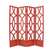Wayborn 76'' x 72'' Charleston 4 Panel Room Divider; Distressed China Red