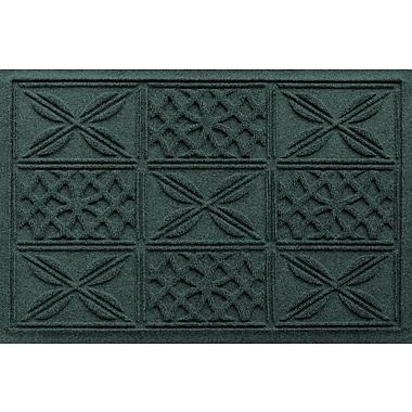 Bungalow Flooring Aqua Shield Patchwork Grid Doormat; Evergreen