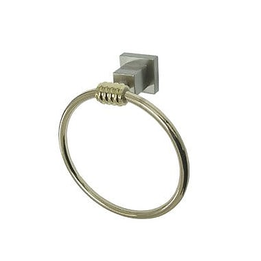 Kingston Brass Fortress Wall Mounted Towel Ring; Satin Nickel/Polished Brass