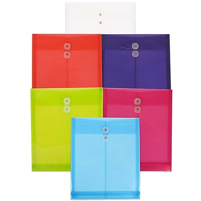 JAM Paper® Plastic Envelopes, Button and String Tie Closure, Letter Open End, 9.75x11.75, Assorted Colors, 6/pack (118B1ASSRTD)