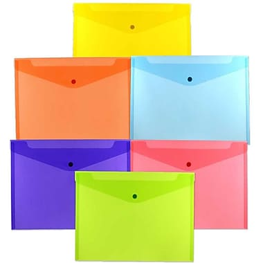 JAM Paper® Plastic Envelopes with Snap Closure, Letter Booklet, 9.75 x 13, Assorted Poly Colours, 18/Pack (218s0rgbypclg)