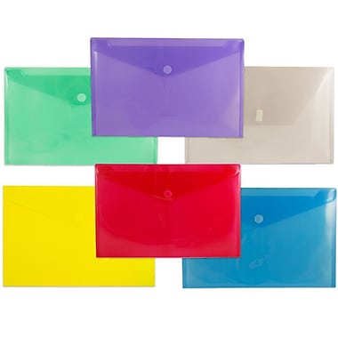 JAM Paper® Plastic Envelopes with VELCRO® Brand Closure, Legal Booklet, 9.75 x 14.5, Assorted Poly, 6/Pack (2358bgprysmg)