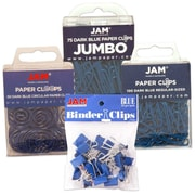 JAM Paper® Office Clip Assortment Pack, Blue, 1 Binder Clips 1 Paperclips 1 Circular Cloops, 4/set (26411BUASRTD)