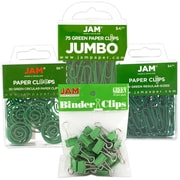 JAM Paper® Office Clip Assortment Pack, Green, 1 Binder Clips 1 Paperclips 1 Circular Cloops, 4/set (26411GRASRTD)