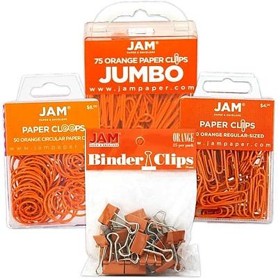 JAM Paper® Colored Office Clip Assortment Pack, Orange, 1 Binder Clips 1 Paperclips 1 Circular Cloops, 4/set (26411ORASRTD)