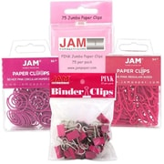 JAM Paper® Office Clip Assortment Pack, Pink, 1 Binder Clips 1 Paperclips 1 Circular Cloops, 4/set (26411PIARSTD)