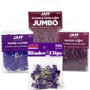 JAM Paper® Office Clip Assortment Pack, Purple, 1 Binder Clips 1 Paperclips 1 Circular Cloops, 4/set (26411PRASRTD)