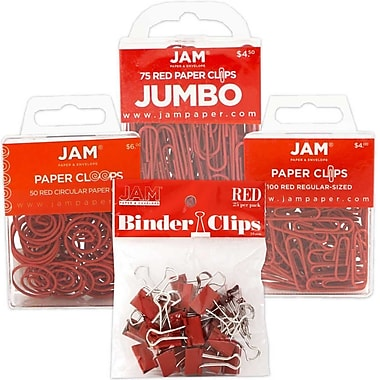 JAM Paper® Colored Office Clip Assortment Pack, Red, 1 Binder Clips 1 Paperclips 1 Circular Cloops, 4/set (26411REASRTD)