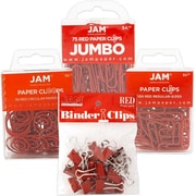 JAM Paper® Office Clip Assortment Pack, Red, 1 Binder Clips 1 Paperclips 1 Circular Cloops, 4/set (26411REASRTD)