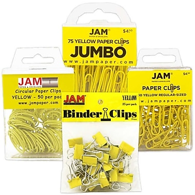 JAM Paper® Office Clip Assortment Pack, Yellow, 1 Binder Clips 1 Paperclips 1 Circular Cloops, 4/set (26411YEASRTD)