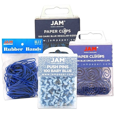 JAM Paper® Office Supply Assortment, 1 pack Rubber Bands, Push Pins, Paper Clips, Round Paperclips, Blue, 4/pack (3224BUOASRT)