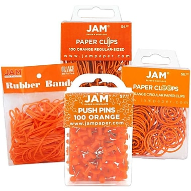 JAM Paper® Office Supply Assortment, 1 pack Rubber Bands, Push Pins, Paper Clips, Round Paperclips, Orange, 4/Pack (3224OROASRT)