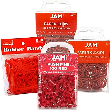 JAM Paper® Office Supply Assortment, 1 pack Rubber Bands, Push Pins, Paper Clips, Round Paperclips, Red, 4/Pack (3224REOASRT)