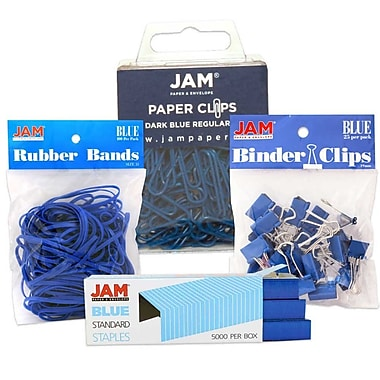 JAM Paper® Desk Supply Pack, Blue, 1 Rubber Bands 1 Binder Clips 1 Coloured Staples 1 Regular Paperclips (3345BUASRTD)