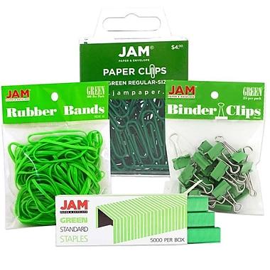JAM Paper® Desk Supply Assortment Pack, 1 pack Rubber Bands, Binder Clips, Staples, Paperclips, Green, 4/pack (3345GRASRTD)