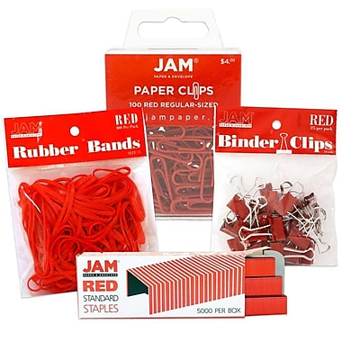 JAM Paper® Desk Supply Assortment Pack, Red, 1 Rubber Bands 1 Binder Clips 1 Coloured Staples 1 Regular Paperclips (3345REASRTD)