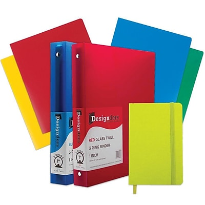 JAM Paper® Back To School Assortments, Classwork Pack, 4 Heavy Duty Folders, 2 1