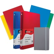 "JAM Paper® Back To School Assortments, Grey Classwork Pack, 4 Heavy Duty Folders, 2 .75"" Binders, 1 Journal, 7/pk (383CWGRASSRT)"