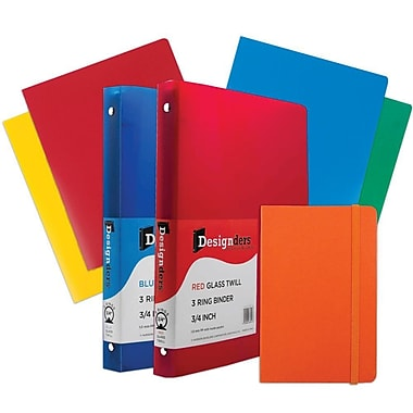 JAM Paper® Back To School, Orange Classwork Pack, 4 Heavy Duty Folders, 2 .75 Binders, 1 Journal, 7/pack (383CWOASSRT)