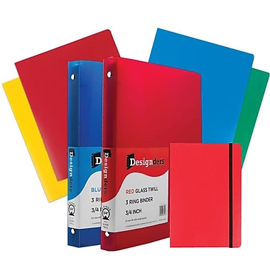 JAM Paper® Back To School, Red Classwork Pack, 4 Heavy Duty Folders, 2 0.75