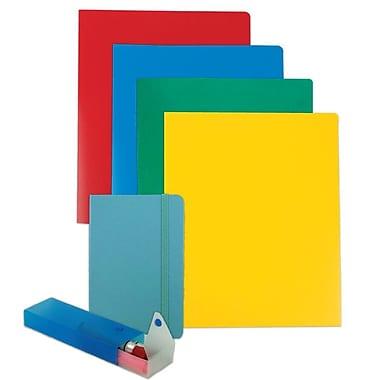 JAM Paper® Back To School Assortments, Homework Pack, 4 Heavy Duty Folders, 1 Journal, 1 Pencil Case, Blue, 6/Pack (383HWBASSRT)