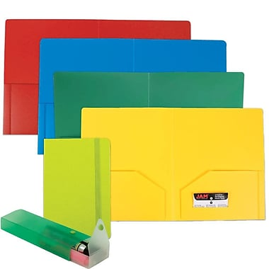 JAM Paper® Back To School Assortments, Green Homework Pack, 4 Heavy Duty Folders, 1 Journal, 1 Pencil Case, 6/Pack (383HWGASSRT)
