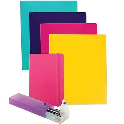JAM Paper® Back To School Assortments, Pink Homework Pack, 4 Heavy Duty Folders, 1 Journal, 1 Pencil Case, 6/pack (383HWPASSRT)